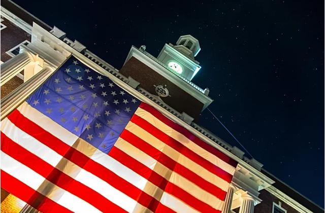 Jackman Hall with US Flag