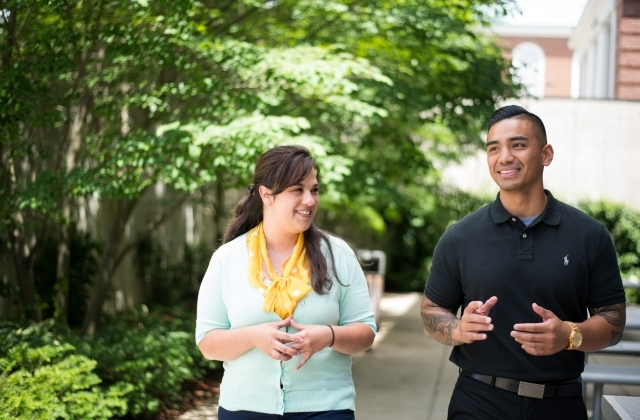 students walking at residency