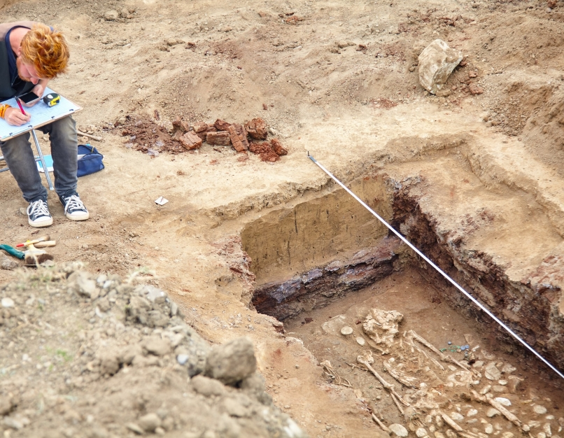 An archaeologist taking notes at a dig site.